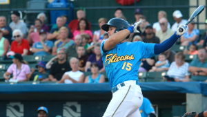 David Bote taking a swing for the Myrtle Beach Pelicans during their 2016 championship season