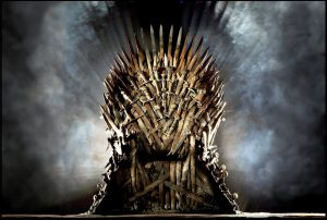 the iron thrones from game of thrones on hbo during one of the golden ages of television