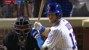 David Bote steps up to the plate with the Cubs down by 3 runs with 2 outs in the 9th inning