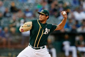 sean manaea delivers a pitch for the oakland a's during the 2018 season