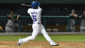 david bote takes a big hack for the south bend cubs