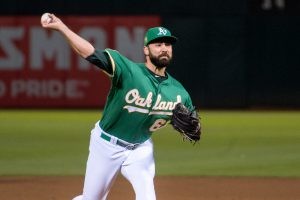Lou Trivino fires in a pitch for the Oakland A's during an impressive stretch run in the 2018 season MLB Second Half Storylines AL West