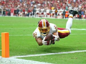 Jordan Reed reaches for the goal line touchdown Your Daily Fantasy Lineup in Week 2