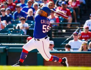 Willie Calhoun takes a big hack during Spring Training for the Texas Rangers MLB Second Half Storylines AL West