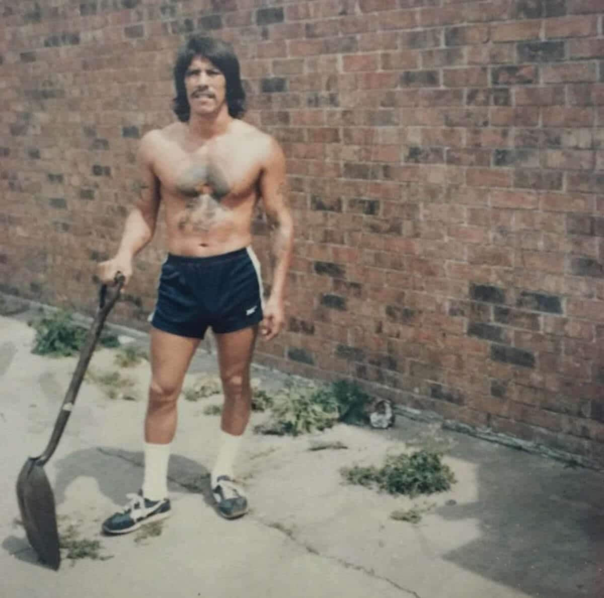 Danny Trejo doing some landscape work in 1980, five years before he broke into the film industry