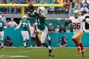 Devante Parker reaches out to make a catch and he is one of the under-the-radar picks for your daily fantasy lineup in Week 9