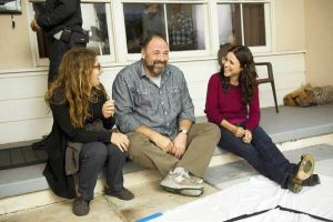 Director Nicole Holofcener shares a laugh with James Gandolfini and Julia Louis-Dreyfus on the set of Enough Said.