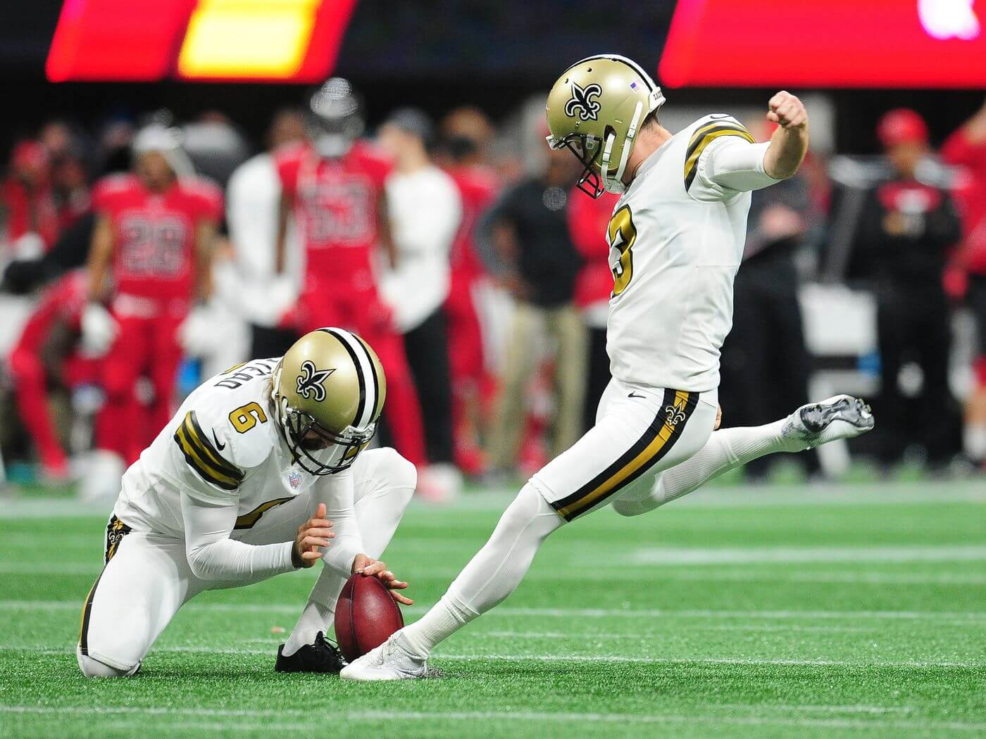 Saints kicker Wil Lutz is one of our DraftKings Captain Mode sneaky plays for Thanksgiving Day