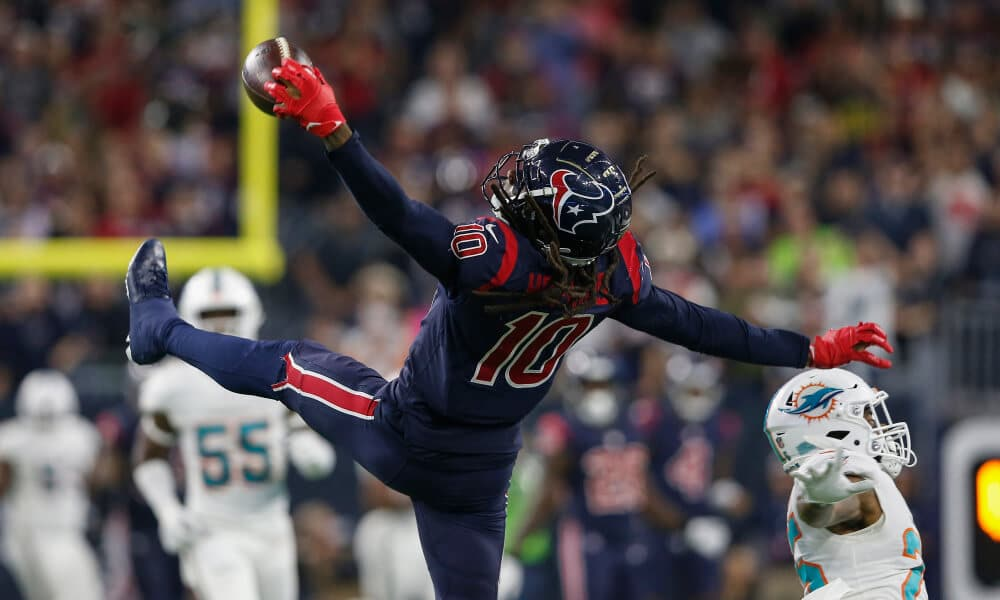 DeAndre Hopkins is the best WR in the NFL and is one of our Week 14 Sneaky Plays for your daily fantasy football lineup