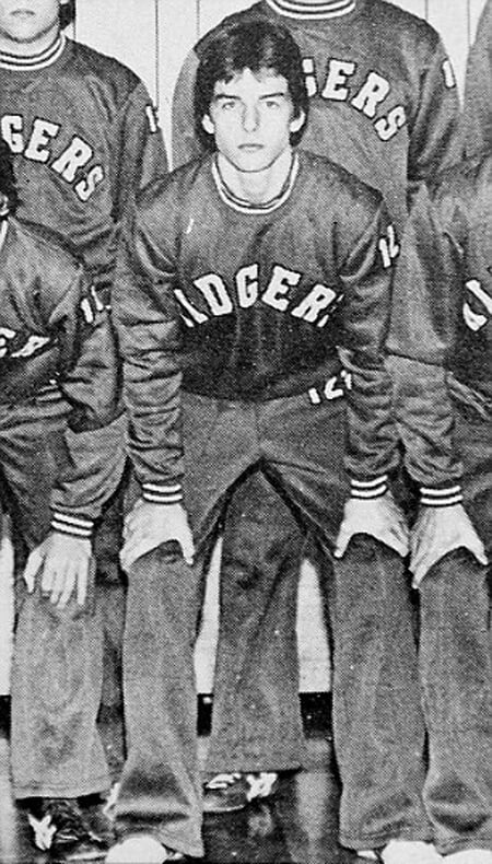 Tom Cruise yearbook photo in his high school wrestling uniform. This was around the time he injured his knee and was forced to leave sports. That's when he started acting.