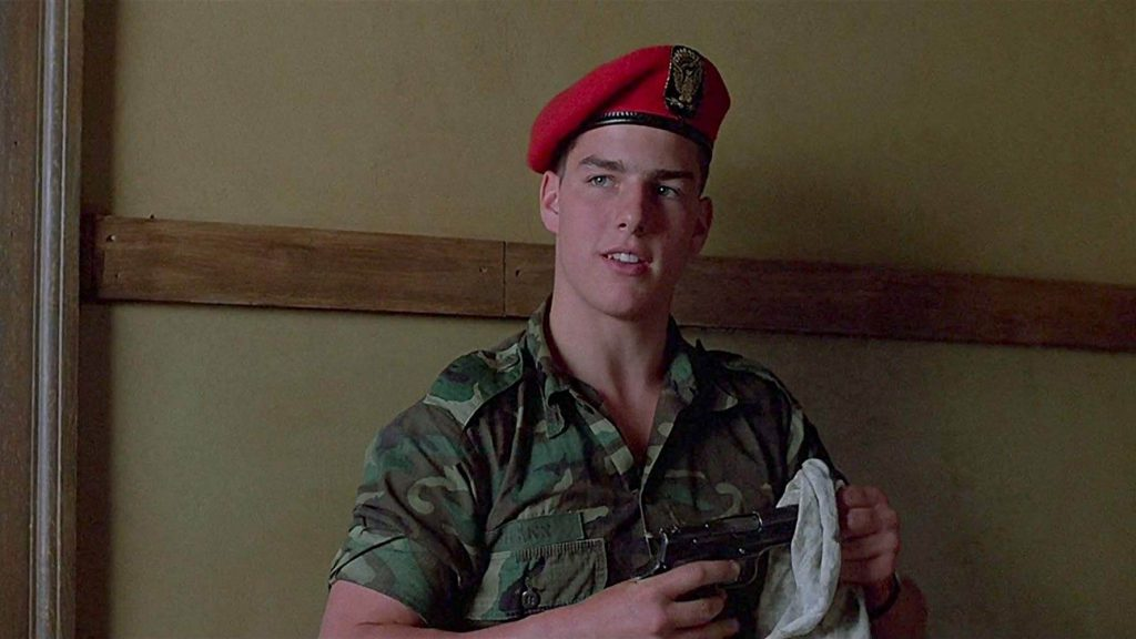His first speaking role as a staff sergeant in Taps (1981).