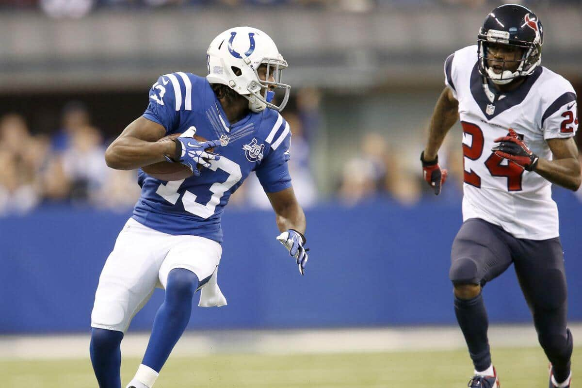 TY Hilton speeds past the Houston Texans secondary in the 2018 NFL regular season. He is one of our Wild Card Weekend Sneaky Plays.