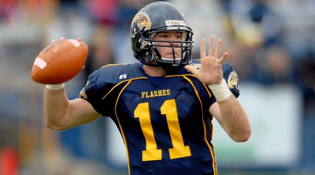 Julian Edelman rears back to fire a pass for Kent State, back when he was an undersized quarterback. Julian Edelman clutch gene is strong.