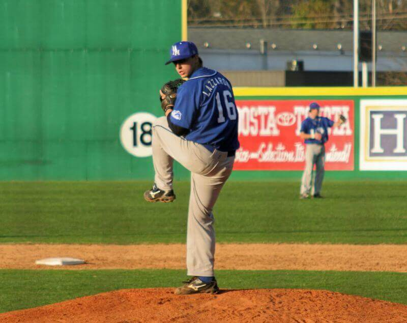 Dan Lazzaroni delivers a pitch in a college baseball game back in 2009. Dan is the creator of The Wave Method, a new method of pitching that saves pitchers from injury and maximizes their abilities.
