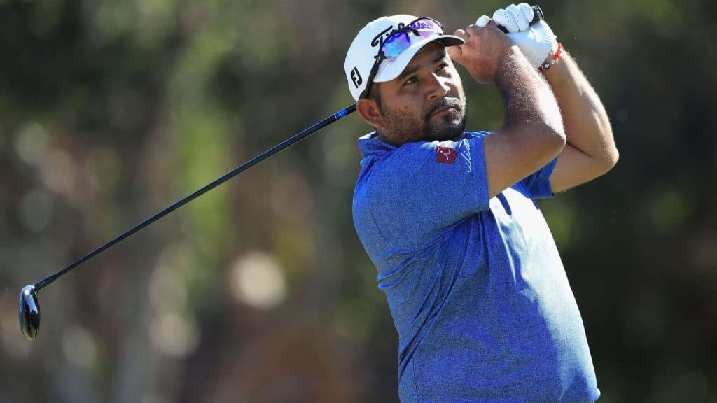 Jose de Jesus Rodriguez watches his 300-foot drive soar through the air on the PGA Tour.