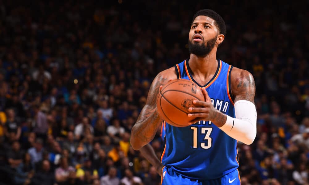 Paul George lines up for a free throw for the Oklahoma City Thunder.
