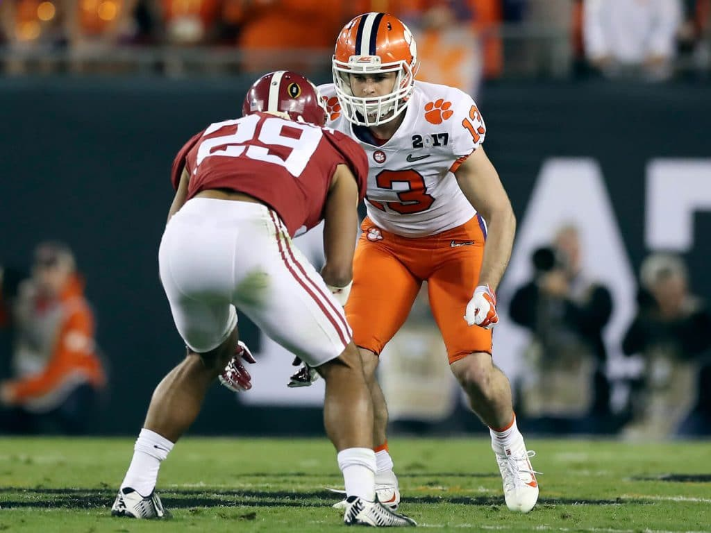 Hunter Renfrow lines up against Alabama safety Minkah Fitzpatrick in the National Championship