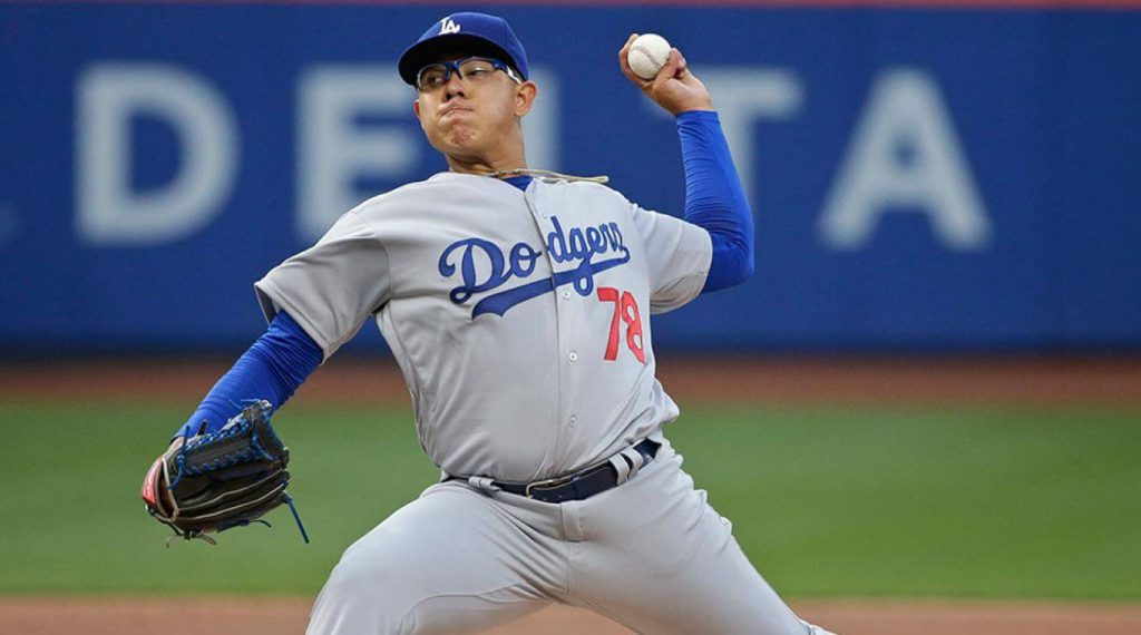 Los Angeles Dodgers left-handed pitcher Julio Urias delivers a pitch against the New York Mets at Citi Field.