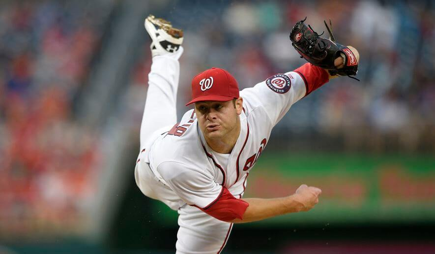 Lucas Giolito delivers a pitch for the Washington Nationals in a June 26th file photo from the Washington Times