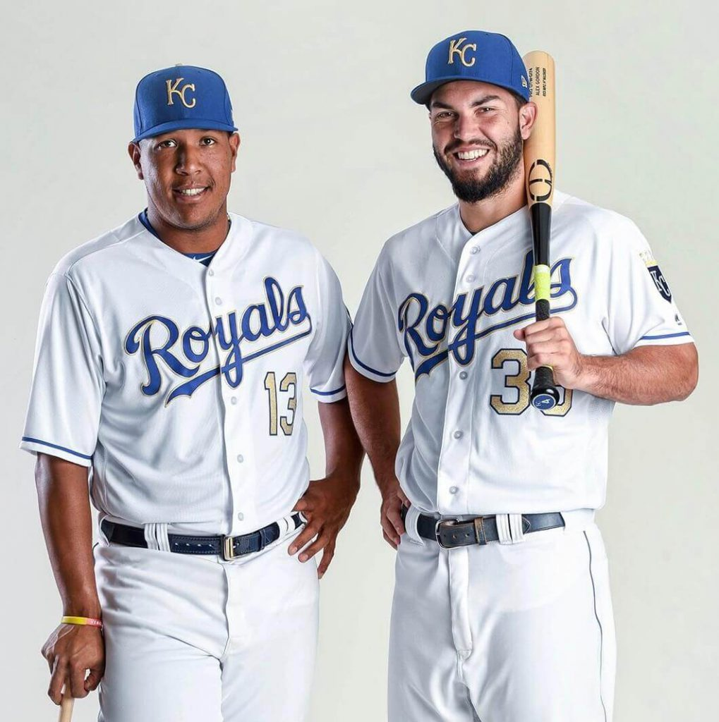 Salvador Perez and Eric Hosmer sporting the Kansas City Royals' gold trim cap, one of the more underrated MLB caps in existence