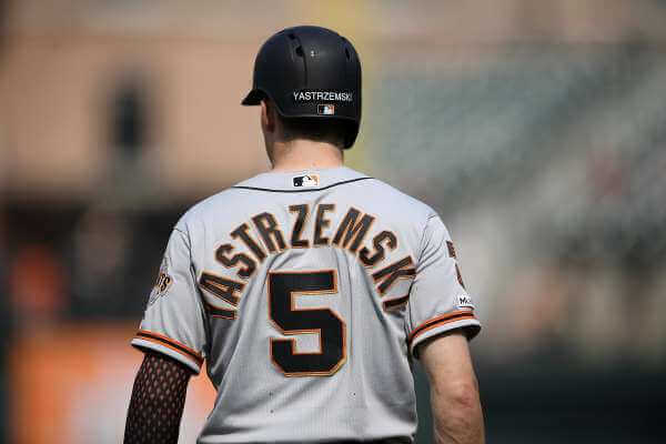 Mike Yastrzemski gets on base for the San Francisco Giants. Mike Yastrzemski is not here because of his name.