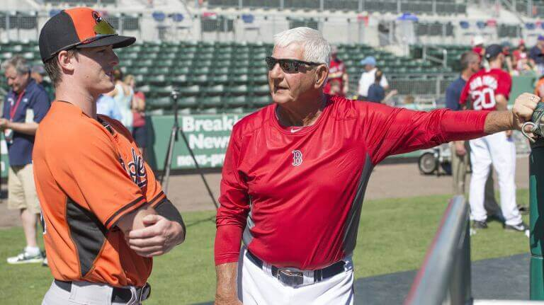 Mike and Carl Yastrzemski chat before a spring training game in March of 2018