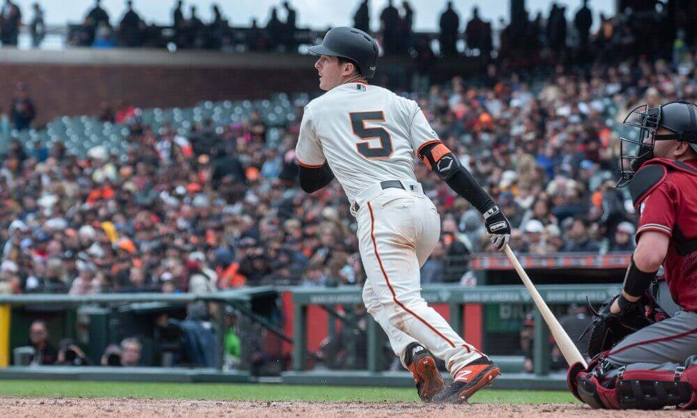 Mike Yastrzemski hammers a rocket through the right side for a base hit for the San Francisco Giants