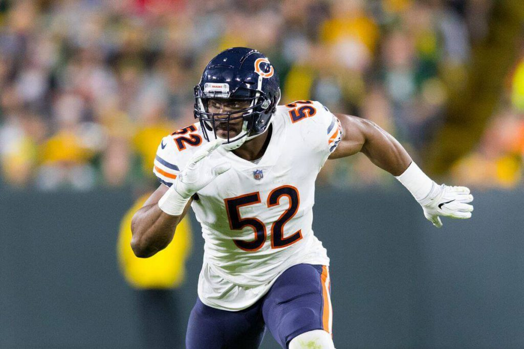 Khalil Mack rushes the passer for the Chicago Bears in 2018. Mack was a 2-star recruit coming out of high school.