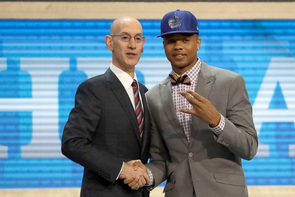 Markelle Fultz shakes hands with commissioner Adam Silver after being selected by the Sixers with the first overall pick of the 2017 NBA Draft