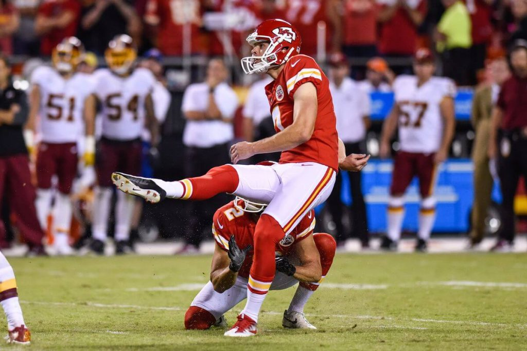 Harrison Butker nails a field goal for the Chiefs