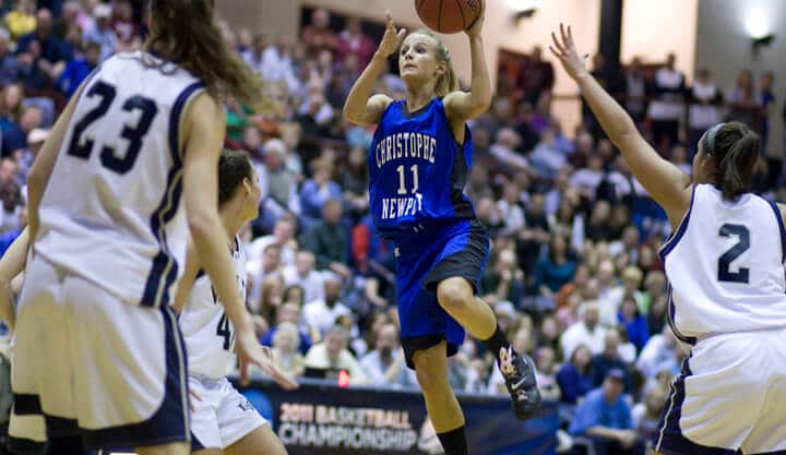 Chelsie Schweers drives to the basket for a lay-up with Christopher Newport  University Women's Basketball