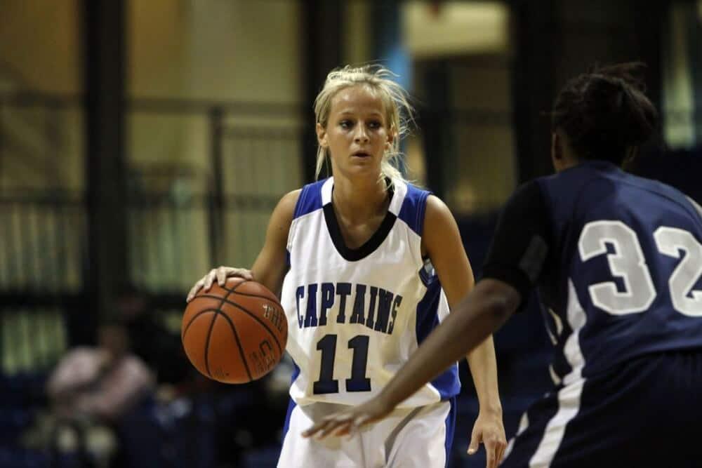 Chelsie dribbles the ball