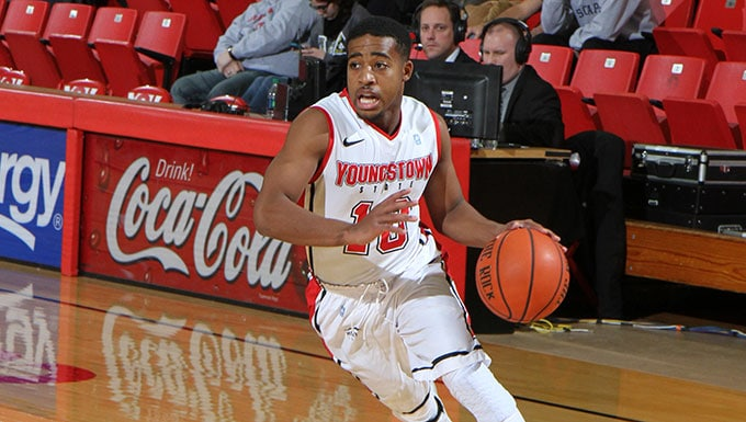 Youngstown State's sophomore guard Marcus Keene drives to the basket