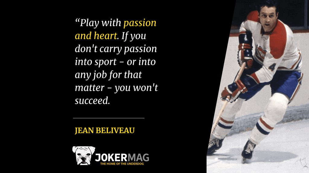 Jean Believeau skates on the ice for the Montreal Canadiens, pictured next to an inspirational quote of his